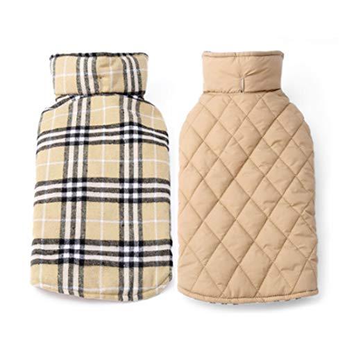 Waterdichte gewatteerde jas voor kleine middelgrote en grote honden Retro Schottenpatroon Gilet Winter Donzen Weste Huisdier Comfortabele kleding Tartan mantel verstelbare winterjas Dog Coat omkeerbaar, Large, beige