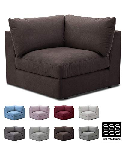 """CAVADORE Sofa-Modul """"Fiona"""" Spitzecke / Ecke für Wohnlandschaft oder XXL-Sessel / 107 x 90 x 107 / Webstoff dunkelbraun"""