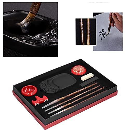 LSAR Juego de práctica de caligrafía China, Duradero y Puro en Textura Juego de Regalo de caligrafía de Proceso Antiguo con Equipo Profesional para la práctica de caligrafía