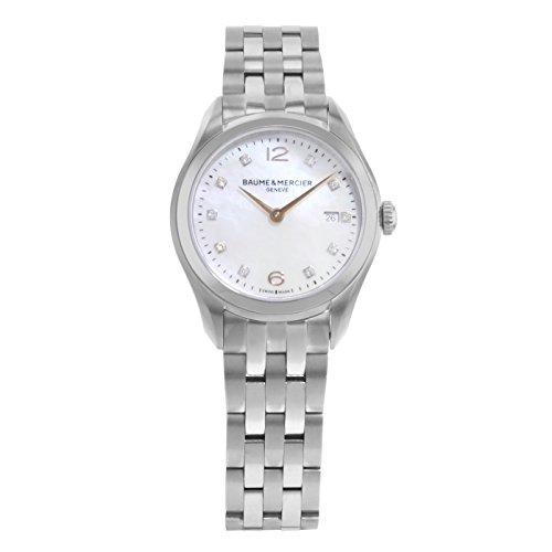 Baume e Mercier Clifton madre di Pearl diamante acciaio orologio da donna