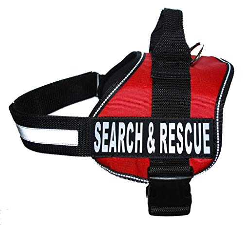 Doggie Stylz Search & Rescue Harness Vest Cool Comfort Nylon for Dogs Small Medium Large Girth Purchase Comes with 2 Reflective Search & Rescue Removable Patches. (Girth 28-38', Red)