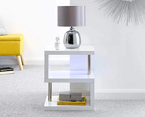 Home Source Polar White High Gloss Furniture with LED's - Coffee & Lamp Tables Tv Unit