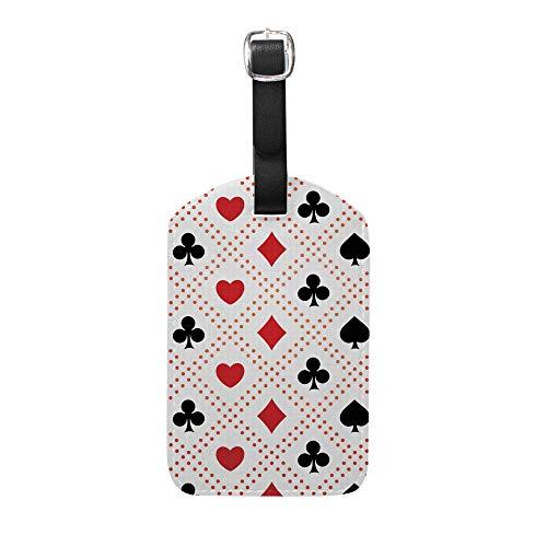 Ruchen Gepäckanhänger Set Koffer-Anhänger Casino Spielkarten Poker PU Leder Gepäckanhänger Etiketten Reisezubehör 11,9 cm Weiß weiß 2er-Set
