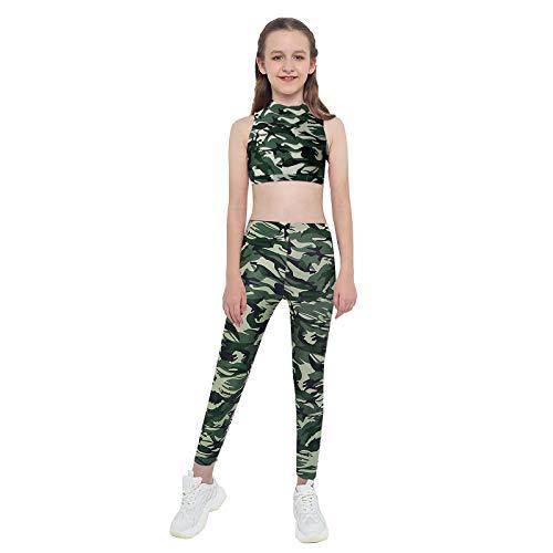 ranrann Conjuntos Deportivos para Niña 2 Piezas Top Corto Tank Top Leggins Largos Slim Fit Ropa de Deportes Yoga Fitness Gym Color 8 3-4 años