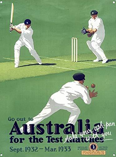 Laurbri Test Match Cricket Blechschilder Plakette Poster aus Metall Warnschild Eisenblech Malerei Schlafzimmer Schule Wand Aluminium Kunst Dekor Bar Café