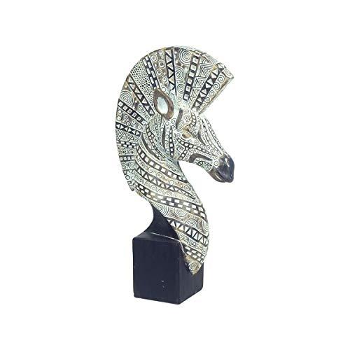 CAPRILO. Figura Multicolor Decorativa de Resina Cabeza Cebra. Adornos y Esculturas Africanas. Animales. Decoración Hogar. Regalos Originales. 15 x 7,50 x 30 cm.