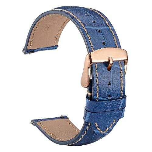 WOCCI 22mm Liberación Rápida Correa de Reloj de Cuero Repujado, Hebilla de Oro Rosa (Azul)