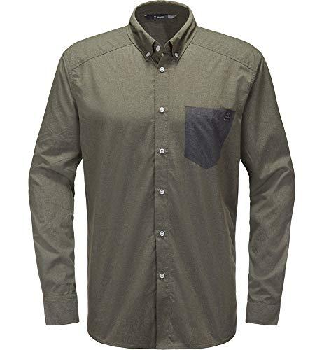 Haglöfs Wanderhemd Herren Wanderhemd Vejan LS Shirt Men atmungsaktiv, Bio-Baumwolle Small Sage Green L L - Empty for carryovers -