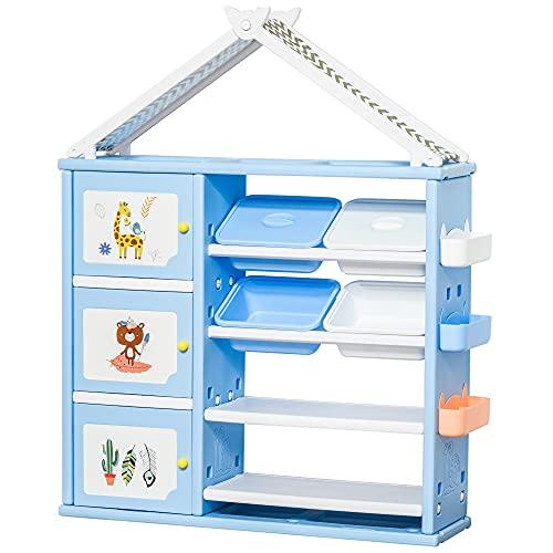 HOMCOM Estantería Infantil de Juguetes con Armario Estantes 4 Cajas y 3 Cestas Organizador de Almacenaje para Habitación de Niños Sala Juegos 128x34x155 cm Azul