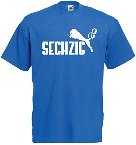 1860 Herren T-Shirt SECHZIG Löwen Shirtroyalblau-XXXL
