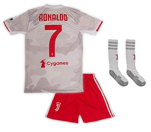 Juventus #7 Cristiano Ronaldo Trikot Set 2019-2020 Auswärts Kinder Fußball Trikot mit Shorts und Socken Kindergrößen