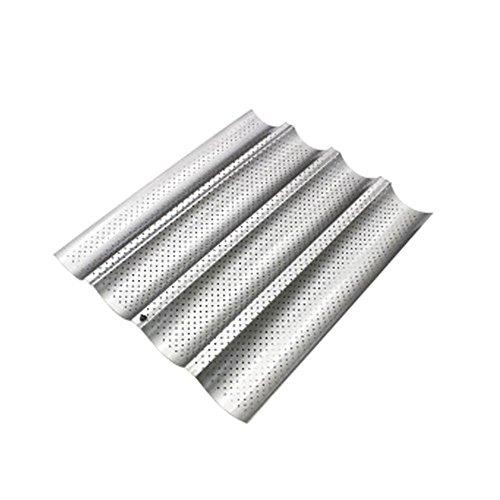 Bandeja de horno para baguette, acero al carbono, 4 ranuras onduladas, antiadherente, para hornear pan francés plata
