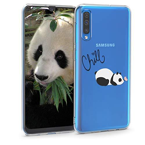 kwmobile Funda Compatible con Samsung Galaxy A50 - Carcasa de TPU y del Panda y la Mariposa en Negro/Blanco/Transparente