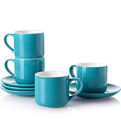 LIFVER Cappuccino Cup, 6 oz Porcelain Latte cups with Saucer for Coffee or Tea, Set of 4