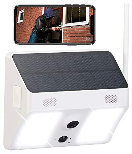 VisorTech WiFi Überwachungskameras: Kabellose WLAN-IP-Kamera mit Flutlicht, Full HD, Solarpanel, App, weiß (HD IP Überwachungskameras)