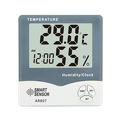 Vosarea Digital Hygrometer Thermometer Meter Funkwetterstation Monitor Digitaluhr mit Großbildschirm für Indoor Outdoor Tischplatte