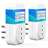 meross Presa Intelligente Wifi Italiana 16A 3680W Smart Plug Spina Energy Monitor, Funzione Timer, APP Controllo Remoto, Compatibile con SmartThings Amazon Alexa, Google Assistant e IFTTT, 2 Pezzi