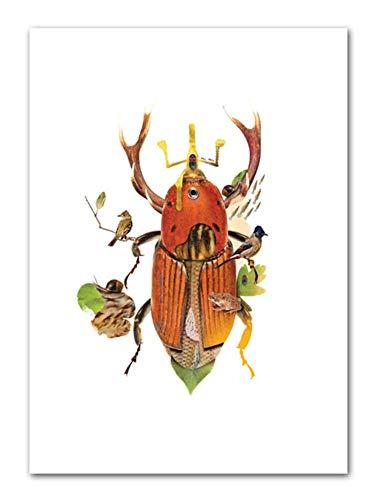 Wuzhaodi poster abstracte dier plant illustratie landschap Scandinavische poster en druk wand kunstdruk canvas schilderij afbeelding 50X70CM F