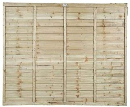 Wooden Super Lap Fence Panel Treated Timber 1.8 Metre Wide x 1.52 Metre High (6 Foot x 5 Foot) 15 year Anti-Rot guarantee