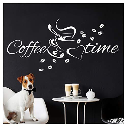 Grandora Wandtattoo Coffee + Time Kaffeetasse & Herz I schwarz (BxH) 30 x 14 cm I Kaffee Küche Esszimmer Sticker Aufkleber Wandaufkleber Wandsticker W924