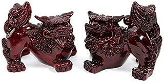 Feng Shui Red Fu Foo Dog Guardian Lions Wealth Protection Statue Figurine Housewarming Congratulatory Gift (Red Foo Dog 10278)