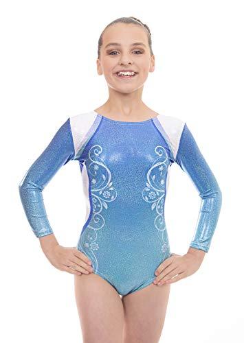 Velocity Dancewear Deluxe Decor Long Sleeve Gymnastics Leotards for Girls (Blue, 11-12 Years)