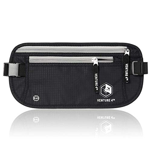 Slim Minimalist Design Money Belt, RFID Blocking for Men & Women - Ideal for Keeping Your Cash, Credit Card, Passport, Phone Safe When Traveling (Black)