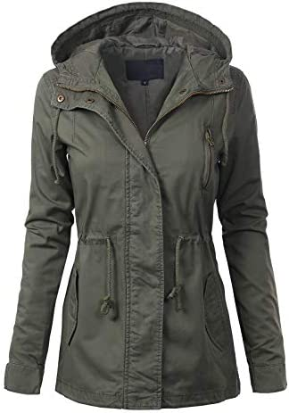 MixMatchy Women s Casual Lightweight Militray Safari Anorak Utility Hoodie Jacket Olive 1XL product image