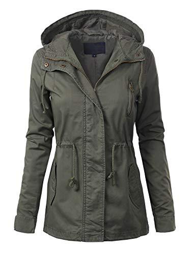 MixMatchy Women's Casual Lightweight Militray Safari Anorak Utility Hoodie Jacket Olive 2XL