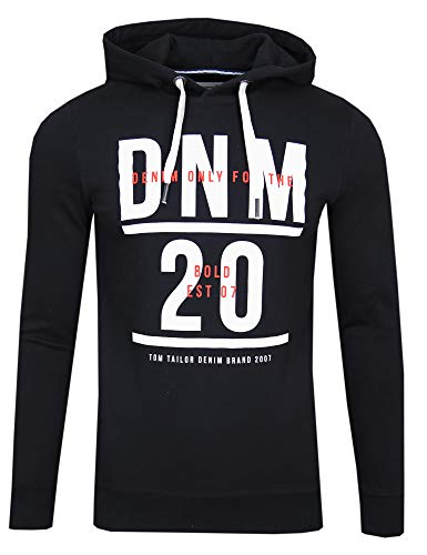TOM TAILOR Denim Strick & Sweatshirts Hoodie mit Print Black, XL