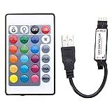 MASUNN 24 USB LED Controller con Telecomando per DC5V 5050 RGB Strip Light...