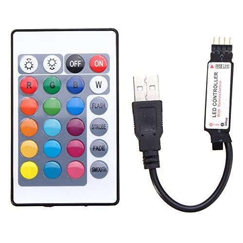 MASUNN 24 USB LED Controller con Telecomando per DC5V 5050 RGB Strip Light