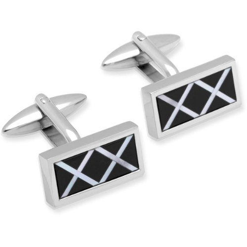 Unique Men's Stainless Steel Black Mother of Pearl & Black Onyx Inlay Cufflinks - QC-118