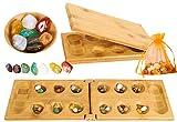 Toys of Wood Oxford TOWO Juego de Mesa mancala - Juego de Mesa Kalaha de Madera con Piedras de Piedra Natural -familias Juegos de Mesa-Juegos mancala Board Game estratégico para niños Adultos