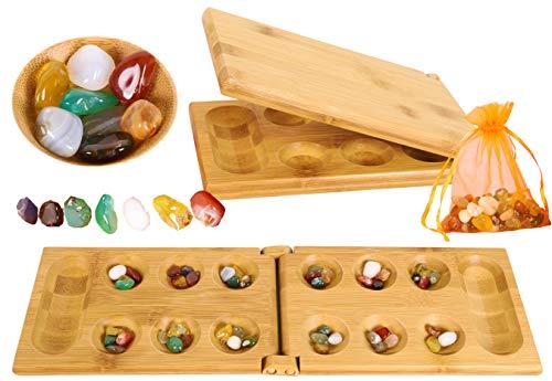 Toys of Wood Oxford Hus Spiel Mancala Brettspiel - Kalaha Spiel Erwachsene Brettspiel mit klappbarem Holzbrett und Natursteinkiesel -Familien Brettspiele-Mancala Spiele Strategisches Spiel für Kinder