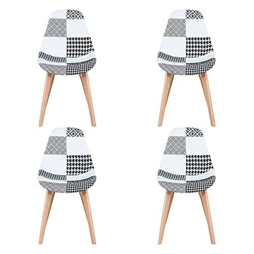 Sim Luxury Lot de 4 chaises de salle à manger ergonomiques en patchwork avec pieds en hêtre pour chambre à coucher, salon, cuisine