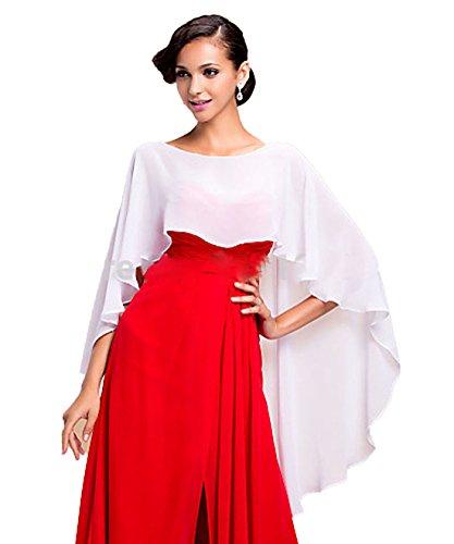 CoCogirls Chiffon Stola Schal für Kleider in verschiedenen Farben zu jedem Brautkleid - Abendkleid, Hochzeit Abend Gala Empfang (One-Size, White)