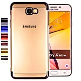 COOVY® Funda para Samsung Galaxy J7 Prime SM-G610Y /Duos SM-G610F / DS / On7 Ligera de silicio TPU, Ultrafina, Transparente con Bordes de Aspecto Cromado   Color Negro