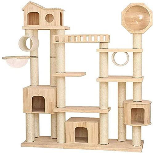 Marco de escalada de madera maciza de lujo para gatos, villa para gatos, castillo para gatos, arena para...
