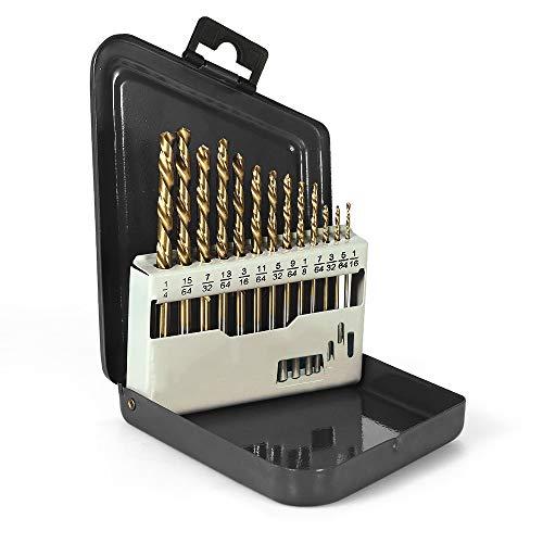 KKmoon 13pcs Left Handed Drill Bit Set M2 HSS with Titanium Nitride Coating (1/16' - 1/4')