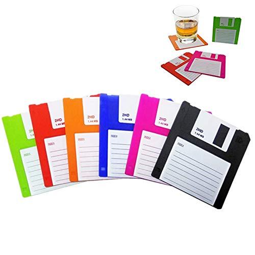 Disketten-Untersetzer aus Silikon, langlebig, hitzebeständig, rutschfest, schützt Ihre Tische, Retro-Schreibuntersetzer für Ihre Getränke, 6 Stück