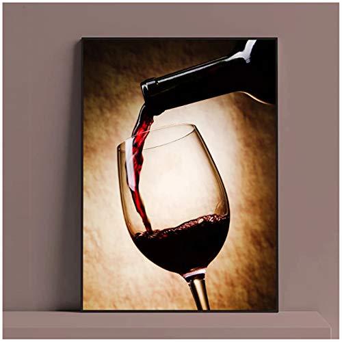 Copa de vino tinto Pintura al óleo Impresiones Cartel Lienzo moderno Arte Bar Restaurante Cocina Decoración de la pared Comedor Sala de estar Decoración 40x60cm Sin marco