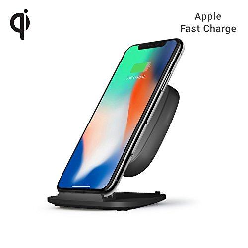 ZENS Wireless Charger Stand (15W) mit Netzteil für z.B. Apple iPhone X/8/8 Plus, Samsung Galaxy S8/S8+, uvm. (Qi zertifiziert I Apple & Samsung Fast Charge I Abschaltautomatik)-schwarz