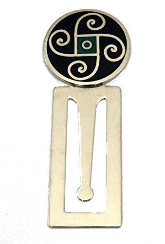 Emaille Schwarz Keltisches Spiralen Design Lesezeichen, mit Chrom Basis (0293)