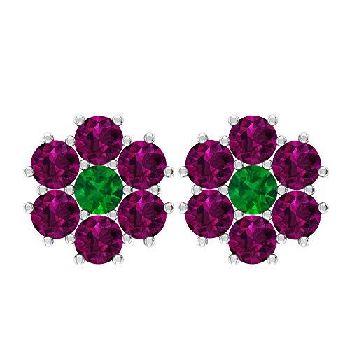 Rosec Jewels 18 quilates oro blanco redonda Green Emerald rodolita
