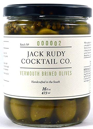 Jack Rudy Cocktail Co Vermouth Marinated Green Pitted Olives