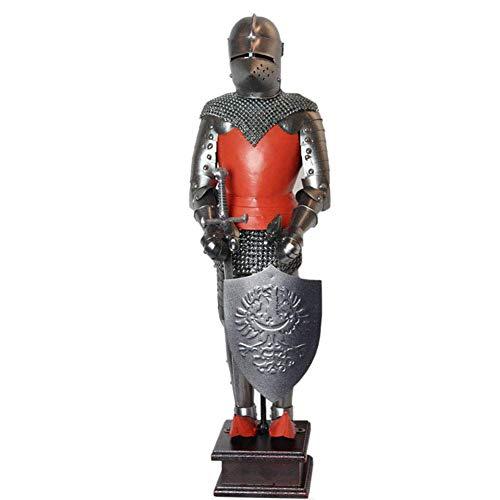 IUYJVR Estatua de Soldado Medieval, Modelo de Escultura de Guerrero de Armadura, artesanía de Metal, Vitrina de Vino, exhibición de Ventana, colección, decoración