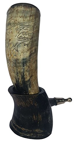 "BRANDED Bull Horn XXL Hand Engraved King Robb 'The Young Wolf' Handcrafted Drinking Horn 12-14"" with brass trim & Brass Knob"