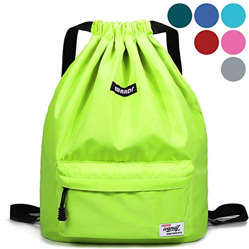 Drawstring Backpack String Bag Sackpack Cinch Water Resistant Nylon for Gym Shopping Sport Yoga by WANDF (Yellow 6032)