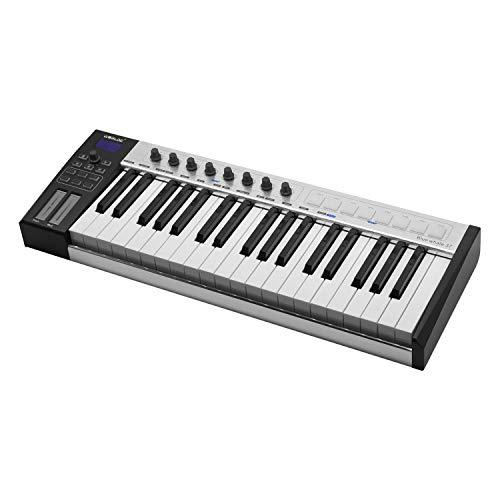 Muslady MIDI Controller Keyboard draagbare USB 37 halfgewogen toetsen 8 RGB achtergrondverlichting trekkers LED-display met USB-kabel WORLDE Blue whale 37 zilver